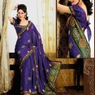 Faux Crepe Casual Designer Embroidered  Sarees Sari With Blouse - X 141A N