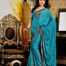 Faux Crepe Casual Designer Embroidered  Sarees Sari With Blouse - X 123A N
