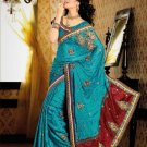 Faux Crepe Casual Designer Embroidered  Sarees Sari With Blouse - X 140B N