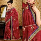 Faux Crepe Casual Designer Embroidered  Sarees Sari With Blouse - X 130A N