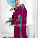 Wedding Faux Georgette Designer Embroidery Sari Saree With Blouse - TS 27014 N