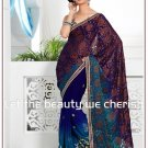 Wedding Faux Georgette Designer Embroidery Sari Saree With Blouse - TS 27001 N
