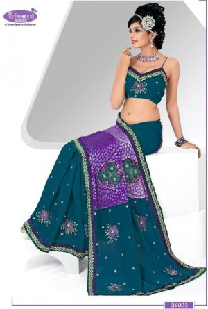 Wedding Georgette Brasso Designer Embroidery Sarees Sari With Blouse- TS 26003 N
