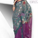 Wedding Net Brasso Designer Embroidery Sarees Sari With Blouse - TS 26008 N