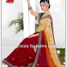 Wedding Faux Georgette Designer Embroidery Sari Saree With Blouse - TS 27008 N