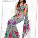 Indian Bollywood Faux Georgette Printed Sari With Unstitch Blouse - X 2174A N