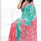 Indian Bollywood Faux Georgette Printed Sari With Unstitch Blouse - X 2182B N