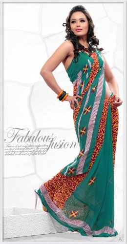 Indian Bollywood Faux Georgette Printed Sari With Unstitch Blouse - X 2189A N