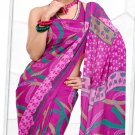 Indian Bollywood Faux Georgette Printed Sari With Unstitch Blouse - X 2198B N