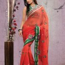 Faux Georgette Partywear Bridal Designer Embroidery Saree With Blouse -X 7318a N