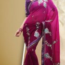 Faux Georgette Partywear Bridal Designer Embroidery Saree With Blouse -X 7355c N