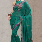 Faux Georgette Partywear Bridal Designer Embroidery Saree With Blouse -X 7367c N