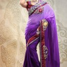 Faux Georgette Partywear Bridal Designer Embroidery Saree With Blouse -X 7350d N