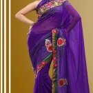 Faux Georgette Partywear Bridal Designer Embroidery Saree With Blouse -X 7358d N
