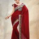 Faux Georgette Partywear Bridal Designer Embroidery Saree With Blouse -X 7354d N