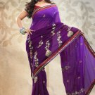 Faux Georgette Partywear Bridal Designer Embroidery Saree With Blouse -X 7355d N