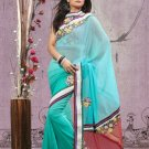 Faux Georgette Partywear Bridal Designer Embroidery Saree With Blouse -X 7349a N
