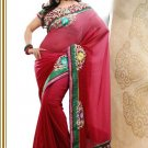 Faux Georgette Partywear Bridal Designer Embroidery Saree With Blouse -X 7350b N