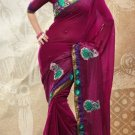 Faux Georgette Partywear Bridal Designer Embroidery Saree With Blouse -X 7358b N