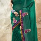 Faux Georgette Partywear Bridal Designer Embroidery Saree With Blouse -X 7358a N