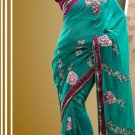 Faux Georgette Partywear Bridal Designer Embroidery Saree With Blouse -X 7355b N