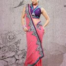 Faux Georgette Partywear Bridal Designer Embroidery Saree With Blouse -X 6374b N