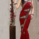 Faux Georgette Partywear Bridal Designer Embroidery Saree With Blouse -X 7367d N