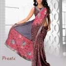 Partywear Faux Georgette Heavy Embroidered Saree With Blouse - Ls Preeti B N