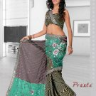 Partywear Faux Georgette Heavy Embroidered Saree With Blouse - Ls Preeti A N