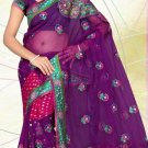 Partywear Georgette Net Viscose Heavy Embroidered Saree With Blouse - Ls 2809a N