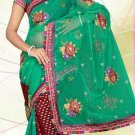 Partywear Georgette Net Viscose Heavy Embroidered Saree With Blouse - Ls 2810 N