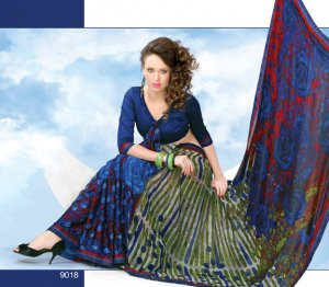 Sari Saree Casual Jacquard Designer Printed With Unstitch Blouse CH 9018 N