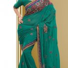 Partywear Faux Georgette Designer Embroiderey Sarees Sari With Blouse - X 966D N