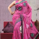 Partywear Faux Georgette Designer Embroiderey Sarees Sari With Blouse- X 1003B N