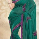 Partywear Faux Georgette Designer Embroiderey Sarees Sari With Blouse - X 960D N