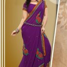 Partywear Faux Georgette Designer Embroiderey Sarees Sari With Blouse - X 960B N
