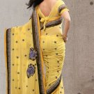 Partywear Faux Georgette Designer Embroiderey Sarees Sari With Blouse- X 1003D N