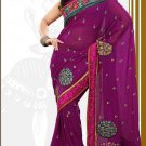 Partywear Faux Georgette Designer Embroiderey Sarees Sari With Blouse- X 1002C N