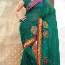 Partywear Faux Georgette Designer Embroiderey Sarees Sari With Blouse- X 1002B N