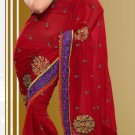 Partywear Faux Georgette Designer Embroiderey Sarees Sari With Blouse- X 1002D N