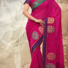 Partywear Faux Georgette Designer Embroiderey Sarees Sari With Blouse- X 1002A N