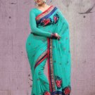 Partywear Faux Georgette Designer Embroiderey Sarees Sari With Blouse- X 1003A N