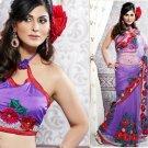 Net Partywear Bridal Designer Embroidered Sari Saree with Blouse - X 207 N