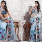 Net Partywear Bridal Designer Embroidered Saris Sarees with Blouse - X 204 N