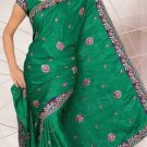 Partywear Crape Jecquard Designer Embroidered Saris Saree With Blouse- LS 2419 N