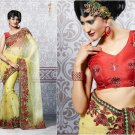 Net Partywear Bridal Designer Embroidered Sari Saree with Blouse - X 213 N