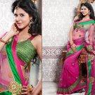 Net Partywear Bridal Designer Embroidered Sari Saree with Blouse - X 209 N