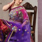 Net Viscose Partywear Designer Embroidered Sari Saree With Blouse - X 7348A N
