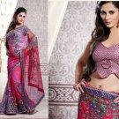 Net Partywear Bridal Designer Embroidered Sari Saree with Blouse - X 210 N