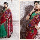 Net Partywear Bridal Designer Embroidered Sari Saree with Blouse - X 222 N